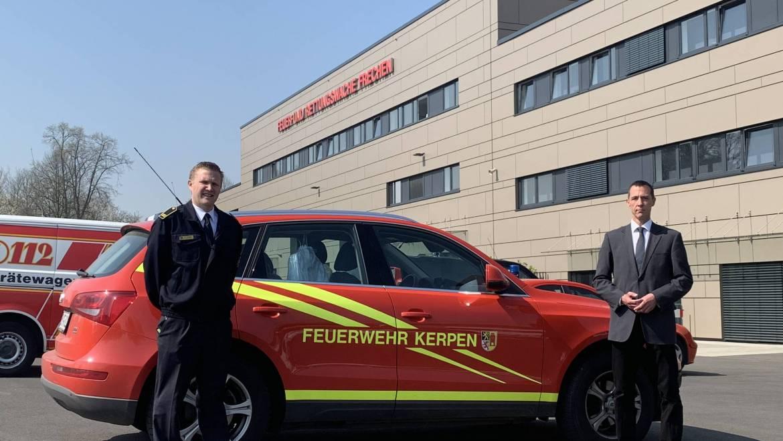 10.04.2020 – Bürgermeister und Leiter der Feuerwehr besichtigen die kreisweite Einsatzleitung