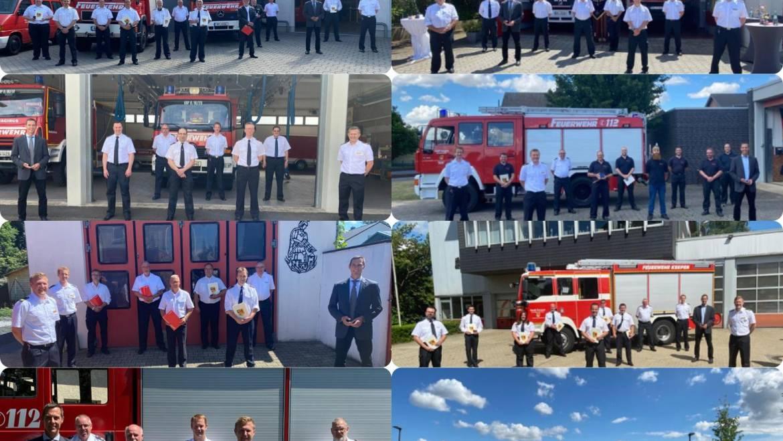 21.06.2020 – Ehrungen, Ernennungen und Beförderungen bei der Feuerwehr Kerpen in Zeiten von Corona