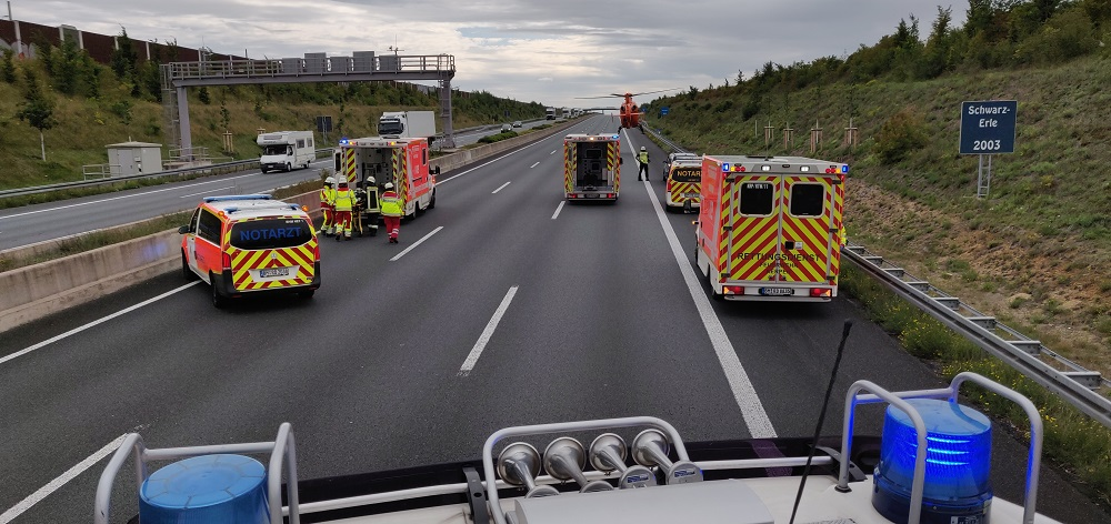 09.07.2020 – Verkehrsunfall auf der Autobahn 4 – drei Personen verletzt
